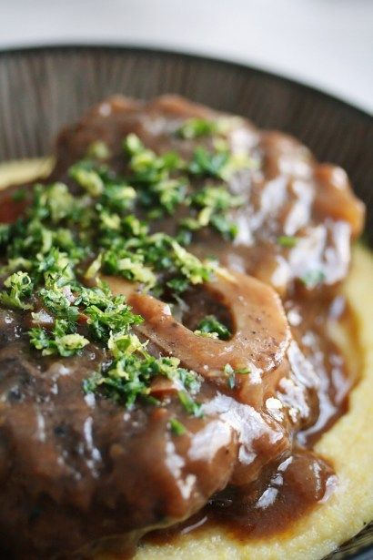 A richer, beefier (and cheaper!) version of classic osso bucco made braised beef shanks. It's perfect cold-weather comfort food.