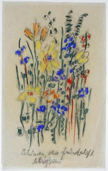 Else Lasker-Schüler, a jewish poet, who worked in Berlin and went to Jerusalem after Hitler got control in 1933. (flower picture to her poem)