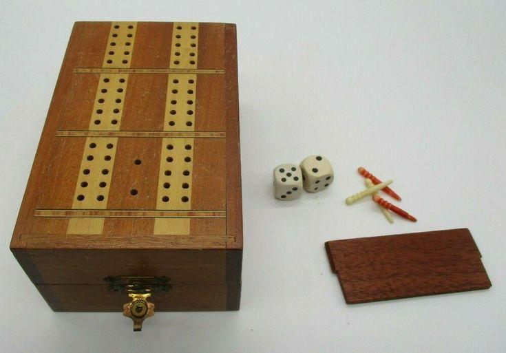 Wood Board Travel Cribbage Game Vintage Travel cribbage