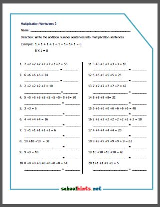 multiplacation worksheets