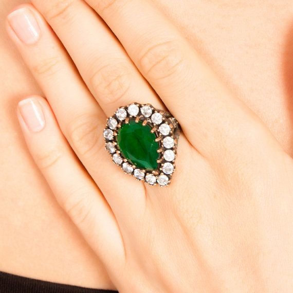 The Zerbap Hurrem Ring with Zircon Emerald Stones by Rosestyle, $42.50