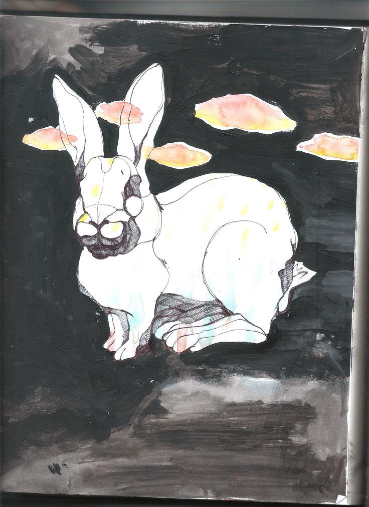 watercolor acrylic rabbit