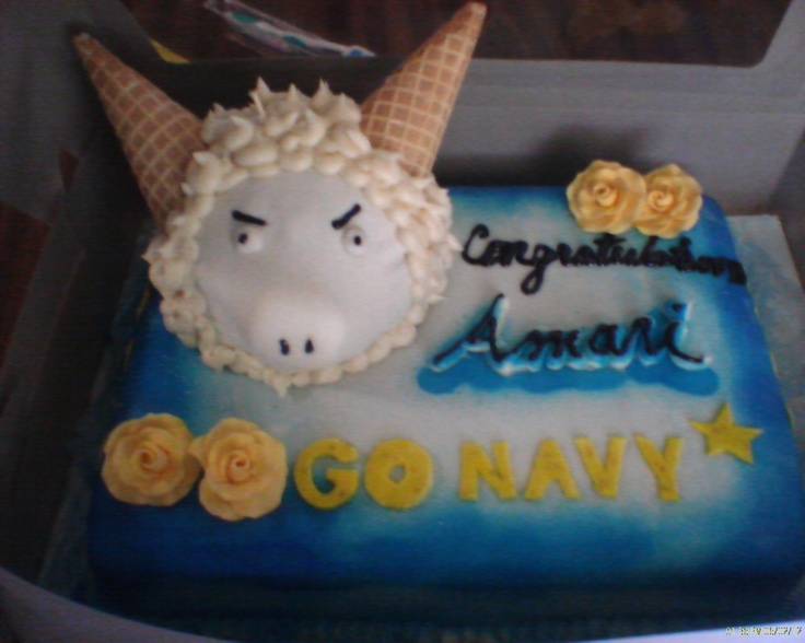 Base is a chocolate cake with chocolate frosting.  The ram is vanilla with buttercream frosting.Buttercream Frosting