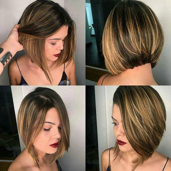 Blonde-Balayage-On-Brunette-Hair Popular Bob Hairstyles 2019 #wavybob