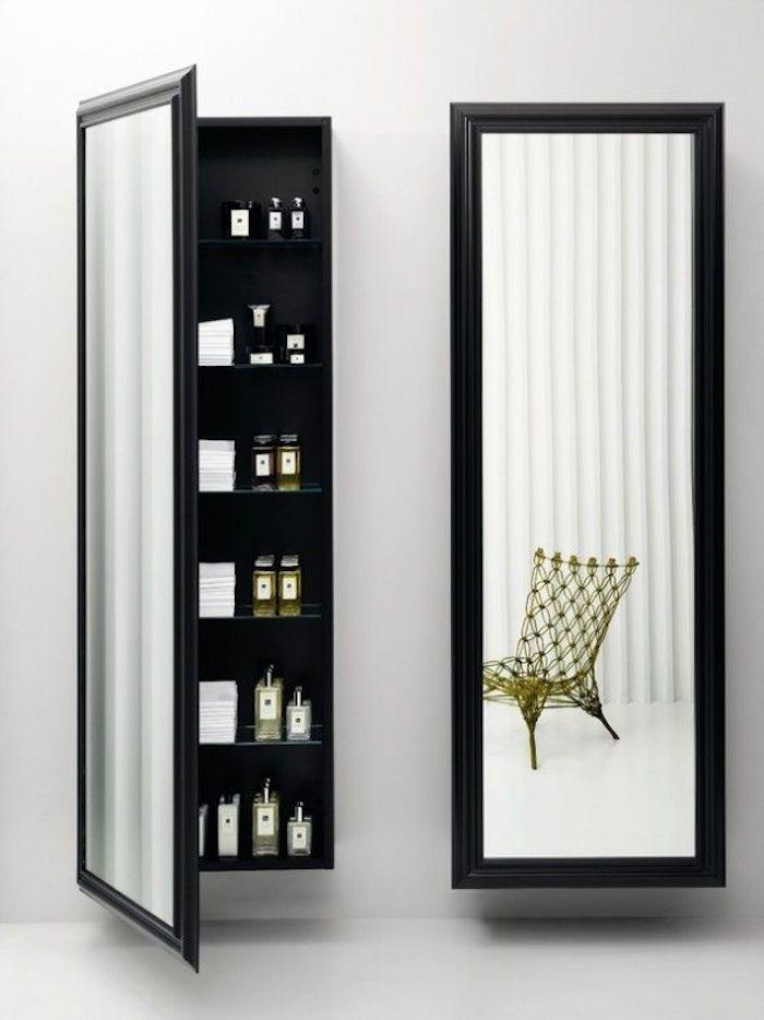 armoire en colonne murale incrustées dans le mur avec porte à miroir vertical