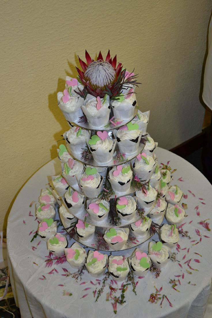 Wedding Cupcake Stack with Heart Deco