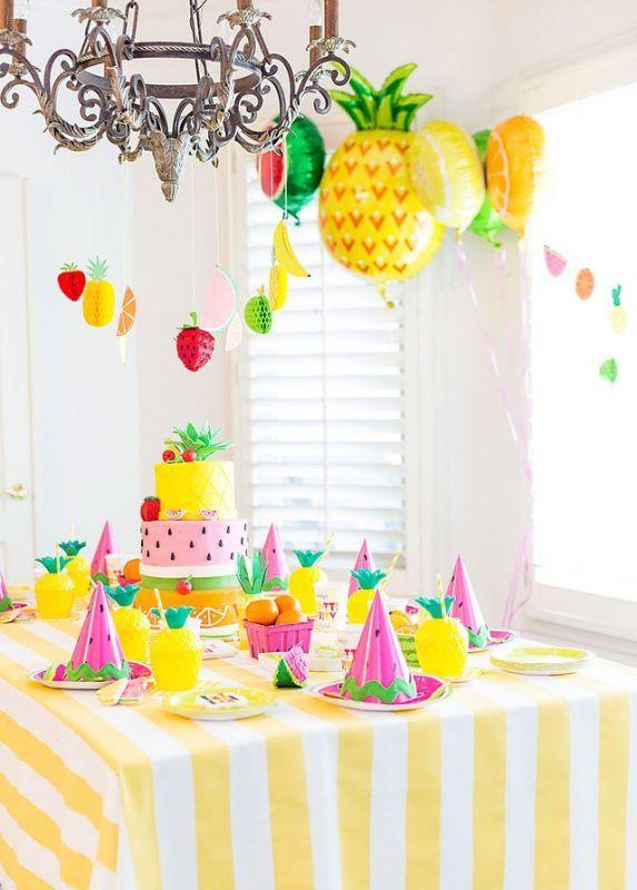 Fiesta Temática De Frutas Y Colores Para Bebés Decoraciones De Fiesta Tropical Decoración De Fiesta Decoracion De Cumpleaños