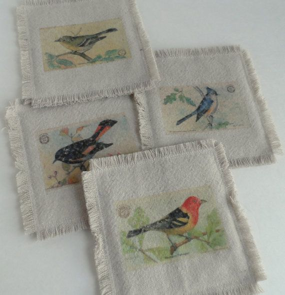 Rustic Fabric Coasters with Distressed Bird by HazelnutDeux