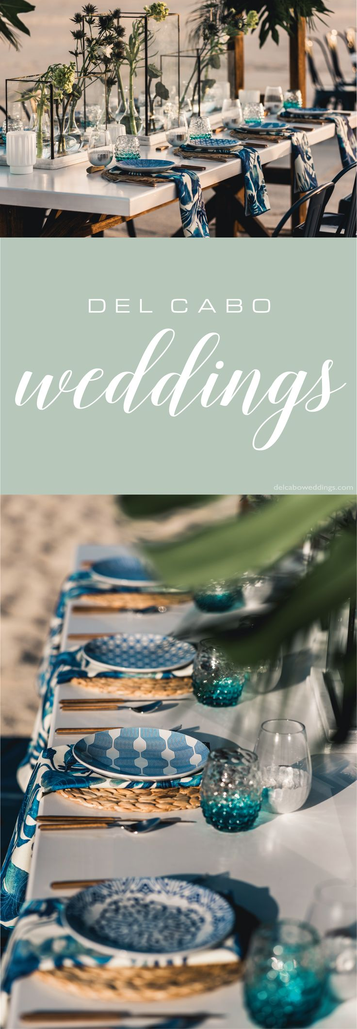 Seaside wedding idea decorations for your beautiful reception. Combine green and blue tones in a nautical organic setting!