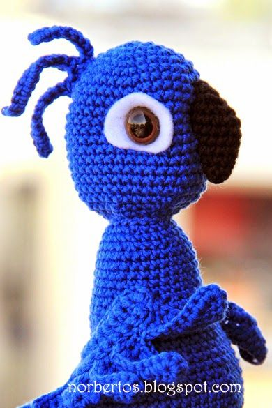 Fan of the movie Rio? Sweet Crocheting time wrote a free pattern for making your own Blu.  I recommend Modern Baby for this color project.