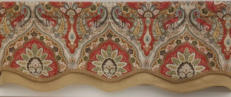 """Grand Palais Grandeur Valance. 50""""w x 16""""l as shown in Lava. Also available in Denim. Starting @ $94.99. To Order Call toll-free 877-722-1100"""