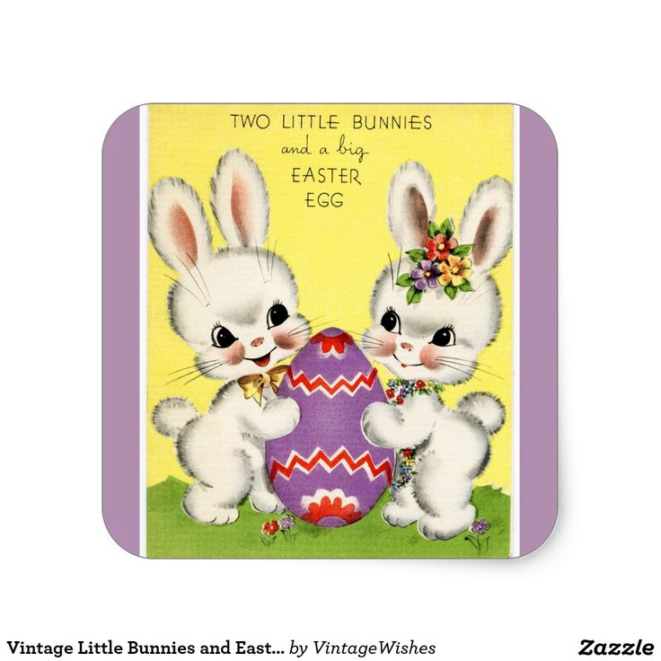 Vintage Little Bunnies and Easter Egg Purple Square Sticker