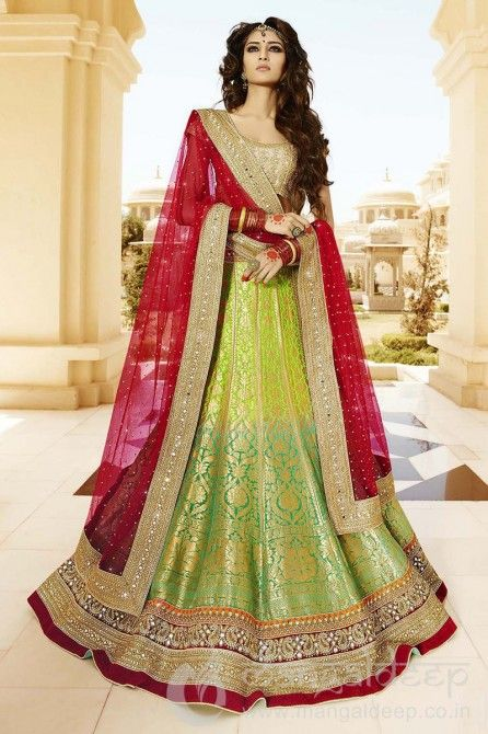 http://www.mangaldeep.co.in/lehengas/naturally-green-shaded-and-red-designer-party-wear-lehenga-choli-4970 For further inquiry whatsapp or call at +919377222211