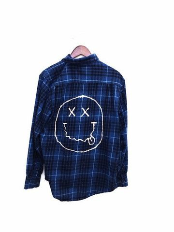 Plaid Nirvana Shirt in Blue. Flannel. One of a kind, and can be worn by men or women.