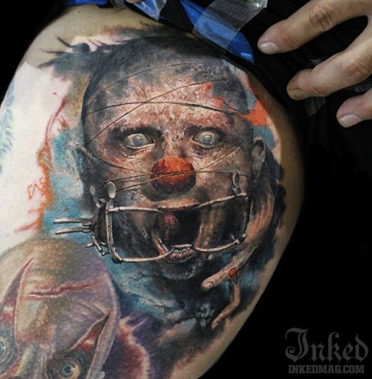 Clowns are scary enough on their own, this just added a whole new layer of creepy. Tattoo by Dmitry Vision