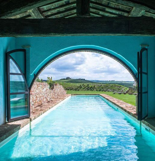 Indoor / outdoor pool at a Tuscany Villa