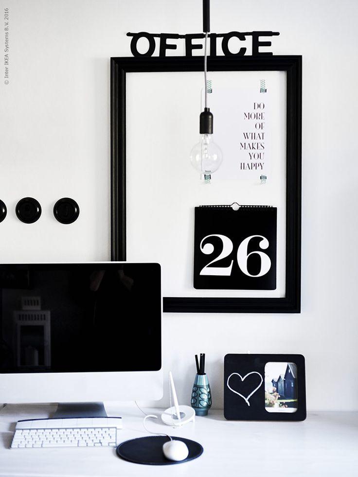 Sätt en personlig touch på arbetsplatsen med foton och personliga meddelanden.
