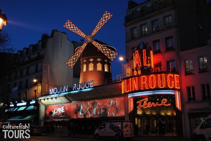 Moulin Rouge at night, Montmartre, Paris