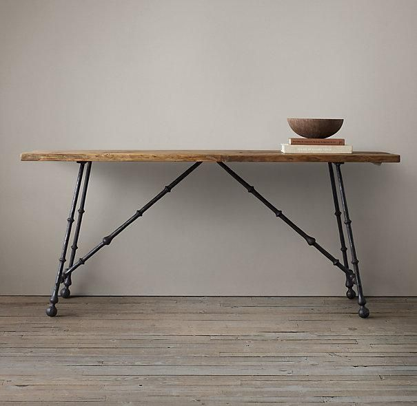 Wood Oak and Iron Craftsman Console Table