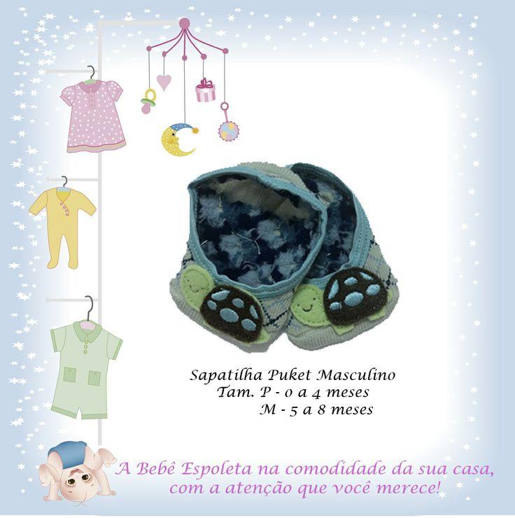 Sapatilha Puket para os Meninos!  Tam: P de 0 a 4 meses  e Tam: M 5 a 8 meses  www.bebeespoleta.com.br  Acessam e coloquem em sua lista de desejos e agende sua visita