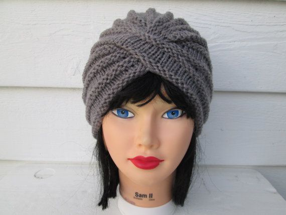Fashion turban grey Womens turban crochet Turban by Ritaknitsall