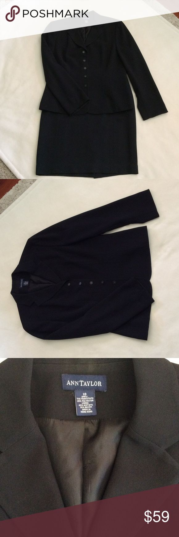 SUNDAY ONLY  Ann Taylor skirt suit Very sharp Ann Taylor skirt suit..black size 10. Great condition!! Ann Taylor Skirts Skirt Sets