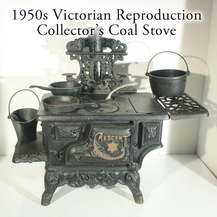 Vintage Minature Crescent Cast Iron Coal Stove