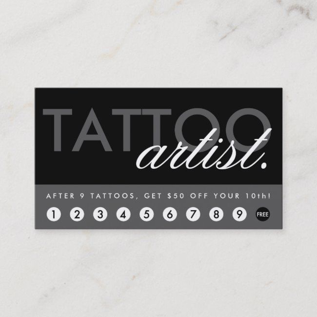 Tattoo Artist Rewards Program Loyalty Card Zazzle Com Business Card Template Design Gift Card Template Loyalty Rewards Program