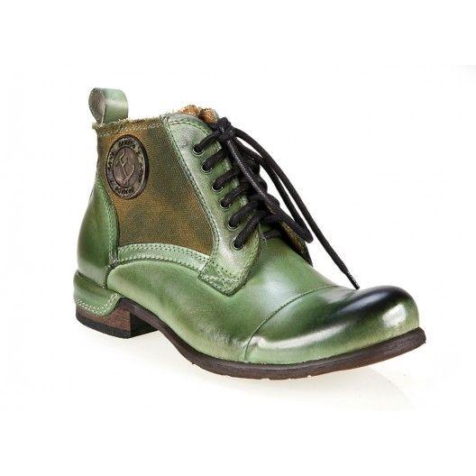 Pánske kožené čižmy zelenej farby - fashionday.eu