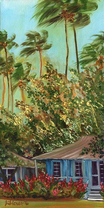 """Oil, 10""""x20"""", Available  Painted with great expression and movement, Bamboo Blue Kauai Cottage with Red Ginger is medium small size Hawaiian Island vignette oil painting. Tropical red ginger flowers grace the front of two blue Kauai plantation cottages. Tin roofs are painted in soft hues to compliment the late afternoon hues in the sky and palms.    The"""