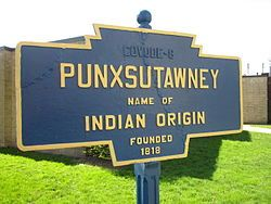On February 2, 1887, the west-central Pennsylvania town of Punxsutawney held its first observance of Groundhog Day.  Official logo of Punxsutawney, Pennsylvania