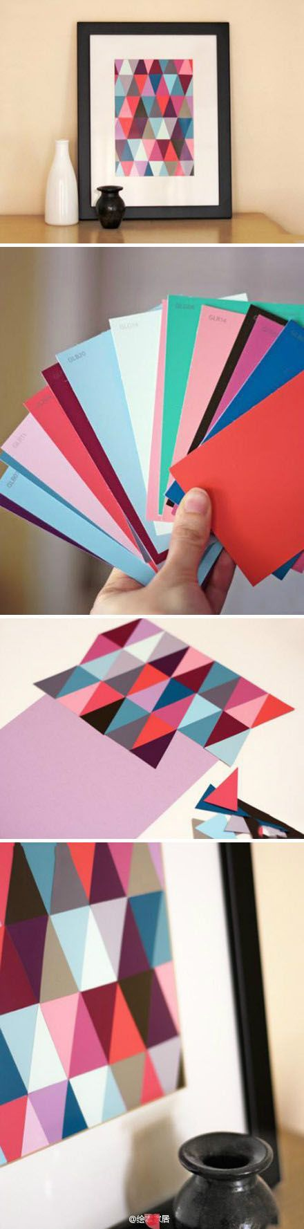 DIY Tesselation Art made with paint chips ...would look really cool in a dorm