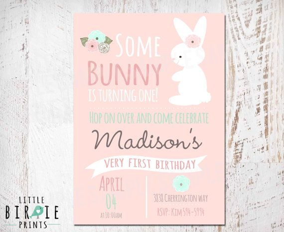 BUNNY BIRTHDAY INVITATION Chalkboard First by littlebirdieprints