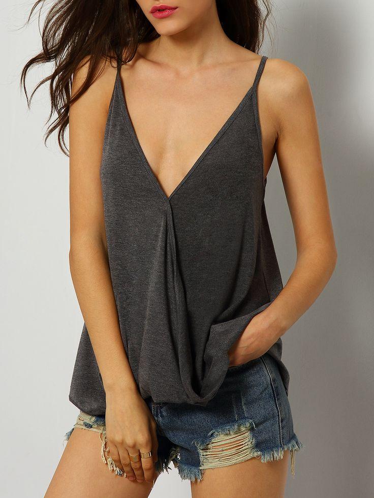 Shop Grey Deep V Neck Cami Top online. SheIn offers Grey Deep V Neck Cami  Top & more to fit your fashionable needs.
