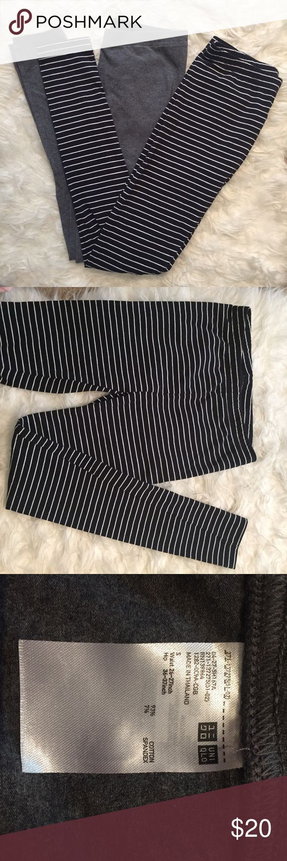 Two Uniqlo leggings! One grey and one b&w striped Leggings from Uniqlo! One is a charcoal grey and one is black with thin white stripes. New, never worn! They are not in the original packaging because I bought them without trying them on and they were too small. Size S fits like an XS! Super soft, comfy cotton jersey material Uniqlo Pants Leggings