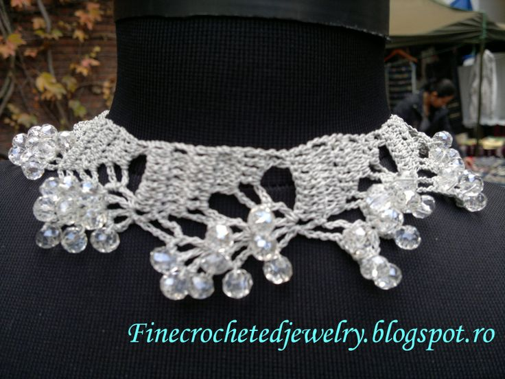 Crochet crystal necklace http://www.finecrochetedjewelry.blogspot.ro/