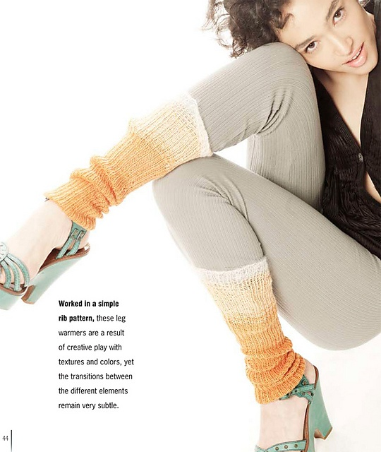 Long Tonal Leg Warmers  by Laura Zukaite    Published in   Luxe Knits: the Accessories