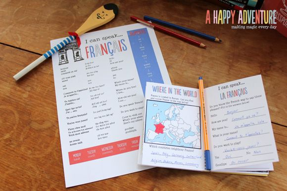 French Language sheet to learn with your little ones - part of our Little World French Adventure! Spoon craft!