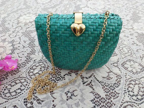 60s green Clutch Handbag Purse Bag Vintage by Shoesandaccessories