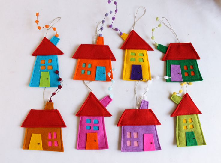 House ornament Set of eight Felt House decoration by Intres