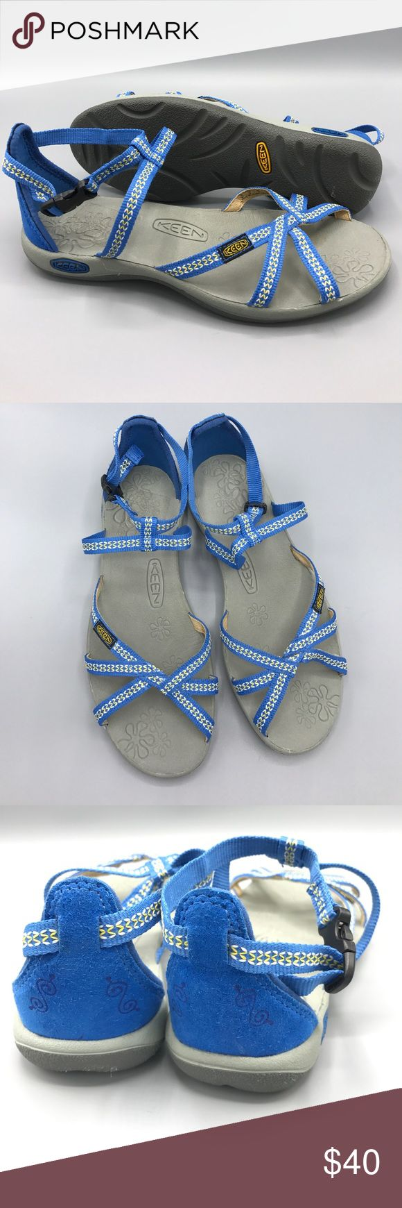 Keen La Paz adjustable strap sandal size US 6 blue Very gently Preowned!  Perfect for the beach or the boulevard, the La Paz Strap is a mixture of comfort and style.  ·  Washable polyester webbing upper is breathable and durable in water.  ·  Metatomical EVA molded footbed for all day comfort.  ·  Compression molded EVA midsole gives you added cushioning and comfort.  ·  Multi-point adjustable strap system gives you adjustability and versatility. Keen Shoes Sandals