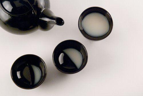 月の満ち欠けを味わえる風情のある杯 酒月ムーングラス 【Moon glass Black (L)】 獨酒,甘酒,マッコリなどにどうぞ