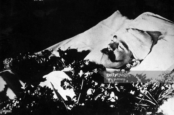1889: The body of Crown Prince Rudolf of Austria (1858-1889), only son of Emperor Franz Josef, lying in state after his reputed suicide. His body was found with that of his lover, Baroness Marie Vetsera in a hunting lodge in Mayerling.