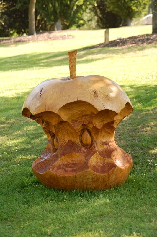 My Apple core idea came to me one day when eating an apple. I carved the first one ive ever seen at the Sculptree event at Westonburt Arboretum back in Aug 2004. It was a big hit and they became well known as 'my thing'.