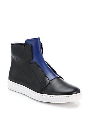 Prada Two-Tone Leather Slip-On High-Top Sneakers