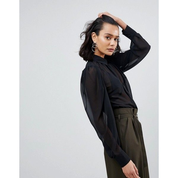 ASOS Sheer Blouse with Exaggerated Sleeve featuring polyvore women's fashion clothing tops blouses black asos blouses asos tops night out tops sleeve blouse sleeve top