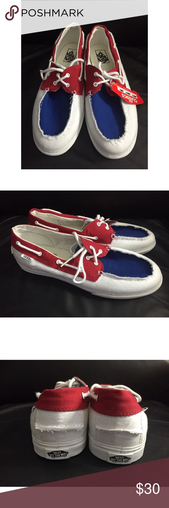 Red White & Blue Vans Boat Shoe NWT Red White & Blue Vans Boat Shoes...Women's Size 8.5 / Men's Size 7...Make An Offer! Vans Shoes Sneakers