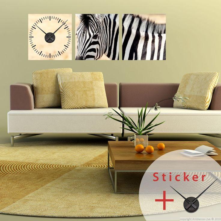 Sticker horloge Portrait zèbre - Stickers STICKERS SPECIAUX Stickers Horloges - ambiance-sticker