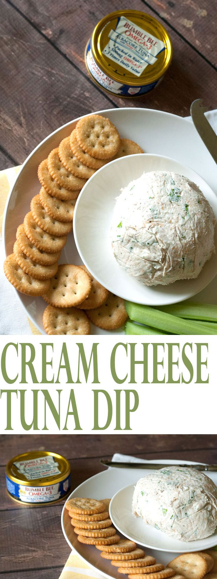 Cream Cheese Tuna Dip   AllSheCooks.com   This dip is perfect served with crackers, celery, or spread on a tortilla, rolled up and sliced into pinwheels. Yum!  #TunaStrong #CG @bumblebeefoods