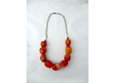 Handmade Orange Felt Bead Necklace by Reccabella on Poppito - £15  High res = yes   #SmallBizSatUK #HandmadeHorizons